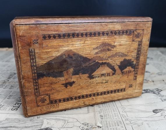 Vintage Japanese puzzle box, inlaid wood, Himitsu Bako