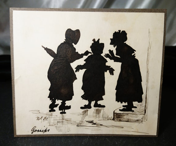 Antique silhouette, 19th century, English school, hand coloured, satirical art, signed