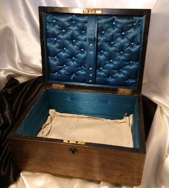 Antique sewing box, Victorian satin lined pine box