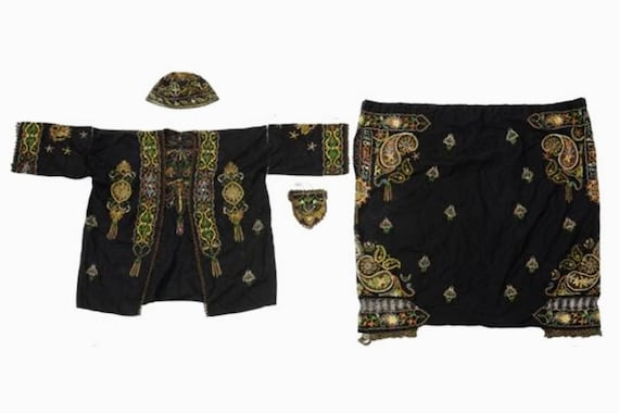 Rare antique embroidered South East Asian ensemble, jacket, hat, purse, pants, museum piece