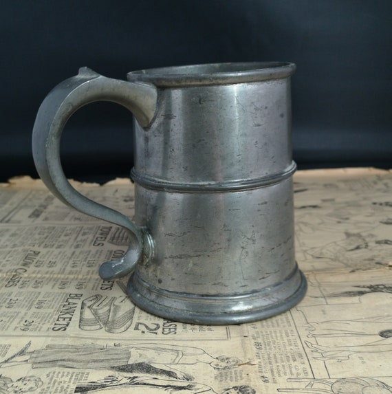 Antique pewter tankard, glass bottomed, Victorian