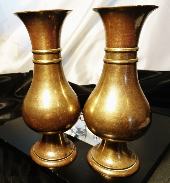 Antique bronze altar vases, pair of early Victorian bronze vases, light patination, church vases