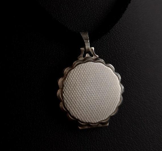 Vintage silver locket, mother of pearl, Rose - image 9