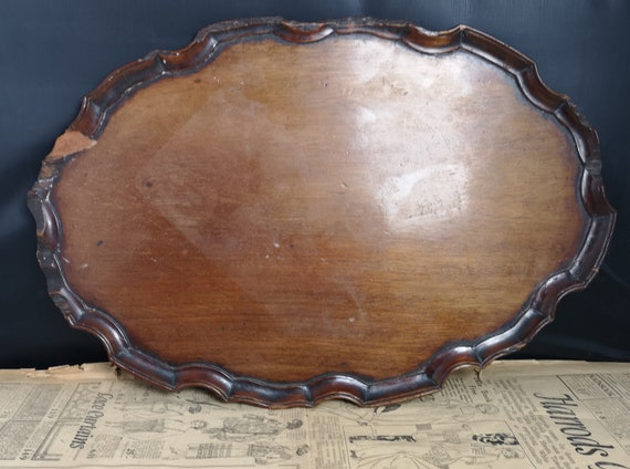 Antique mahogany tray, George III, 18th century pie crust edged wooden tray