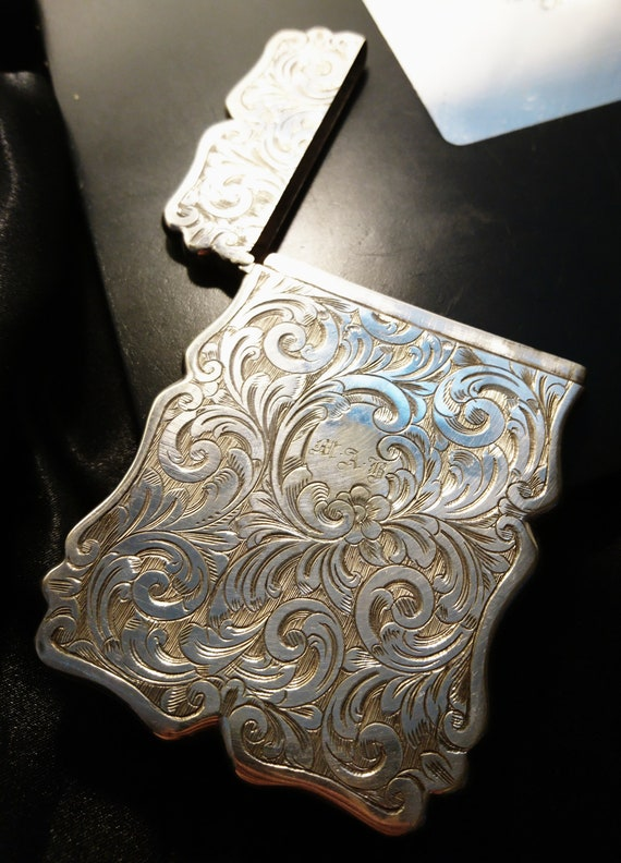 Victorian silver plated card case, card holder, scrolling foliage, antique card case