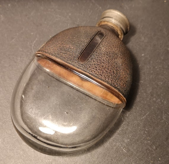 Antique hip flask, leather covered glass, Victorian, rustic hip flask, James Dixon, pocket flask