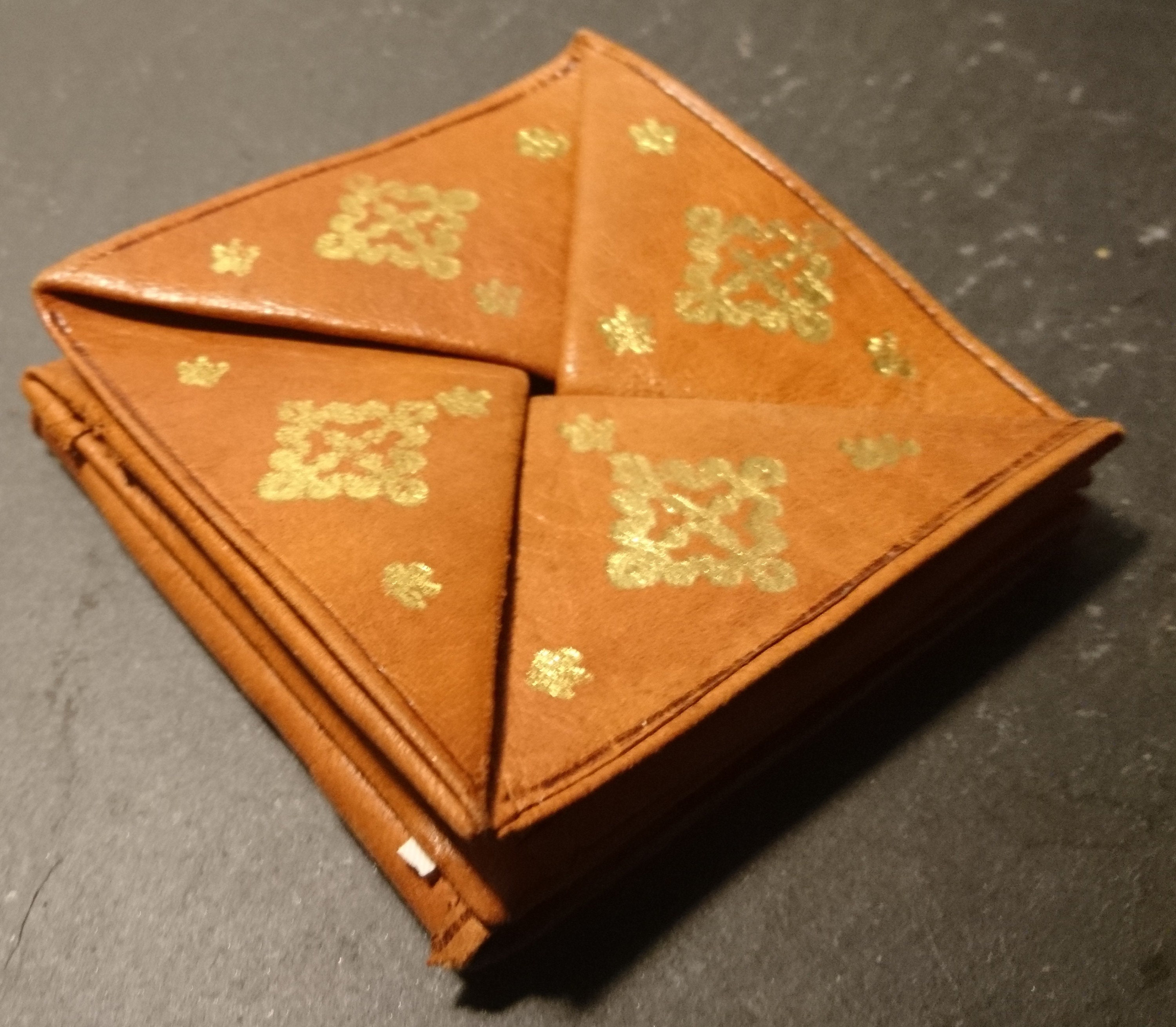 Vintage Leather Folding Purse Moroccan Leather Origami Purse Hand