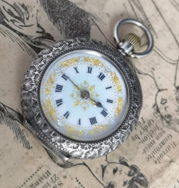 Antique silver pocket watch, ladies fob watch, sterling and enamel, working, top wind pocket watch