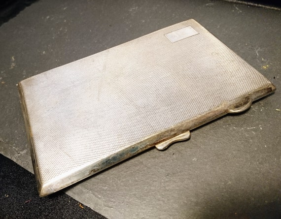 Vintage cigarette case, 1930's, silver plated, engine turned design, large cigarette case