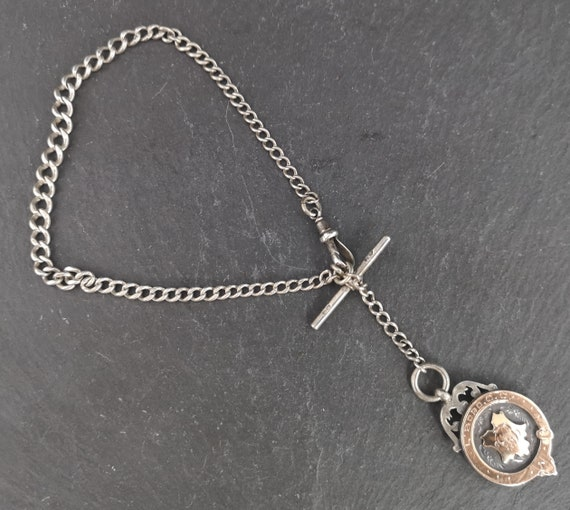 Antique silver Albert chain, sterling silver, silver and gold fob, fully hallmarked
