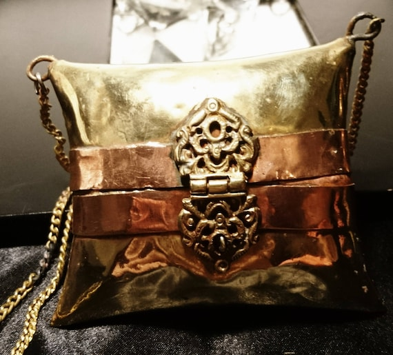 1920's evening purse, brass and copper, pillow purse, Indian metal coin purse