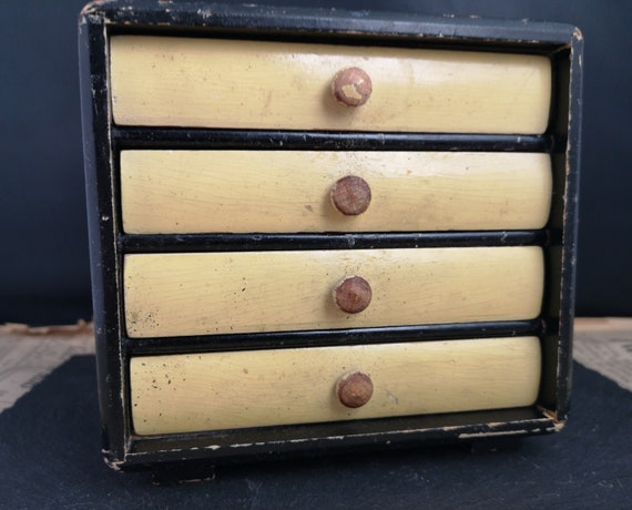 Vintage miniature chest of drawers, rustic, painted