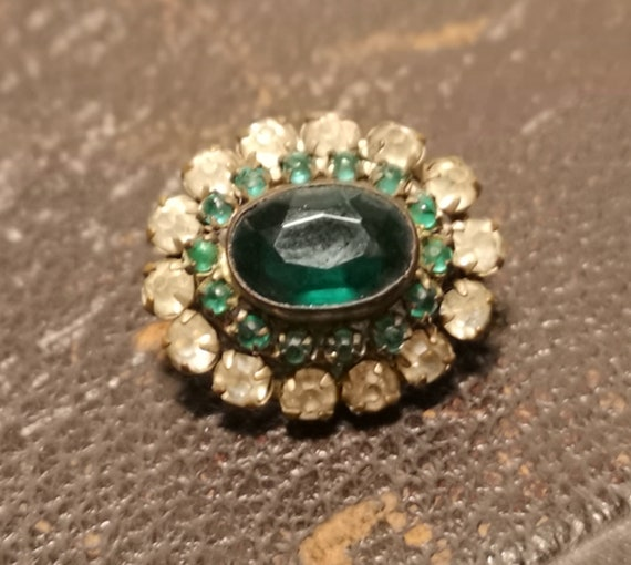 Antique paste brooch, emerald green and white paste, tiered, Early Victorian brooch