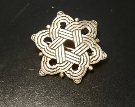 Vintage 20's celtic silver brooch, sterling silver art deco pin