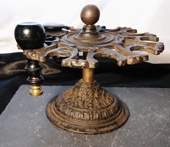 Victorian stamp stand, antique cast iron and brass desk seal stand, office equipment