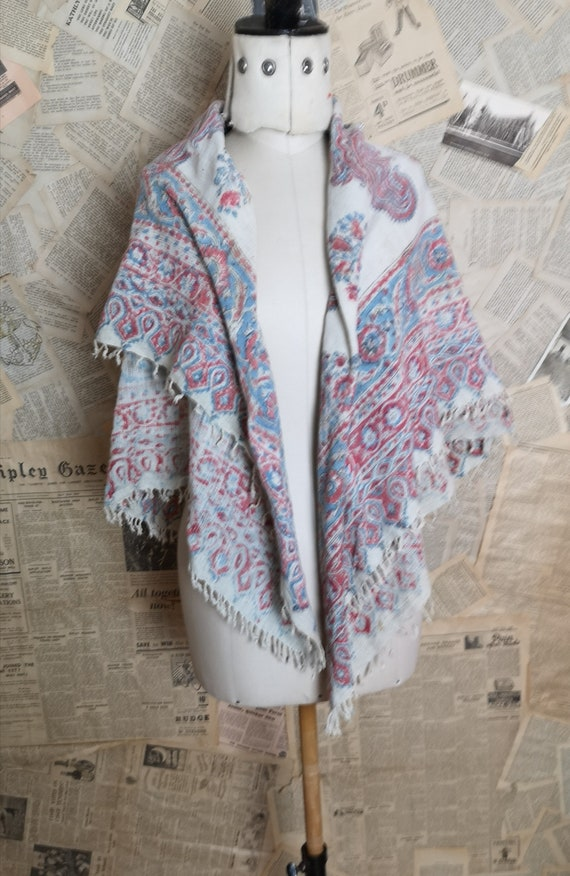 Antique paisley printed woven shawl, Victorian