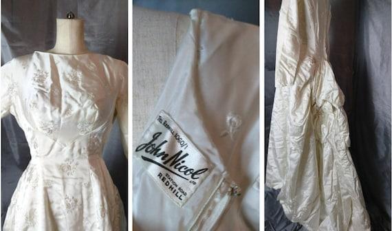 Vintage wedding dress, 1950's silk and satin huge rose bustle, wedding gown