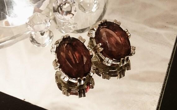 50's vintage clip-ons, victorian style, amethyst clip-on earrings, faux, vintage earrings