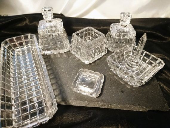 Antique cut glass dressing table set, vanity, ring tree, jewellery storage