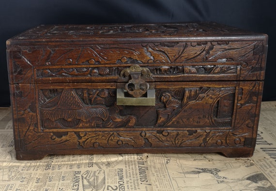 Antique Japanese box, heavily carved camphor wood box, small chest