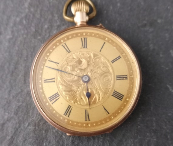 Antique gold pocket watch, 9ct Rose gold, fob watch