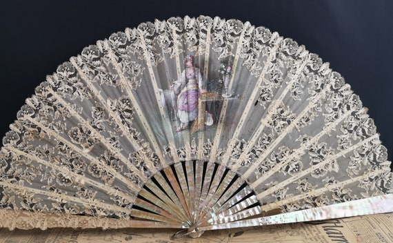 Antique hand fan, lace and mother of pearl