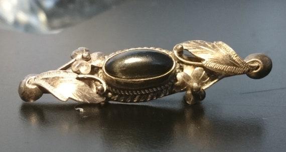 Victorian mourning brooch, antique sterling and black agate brooch, leaf design