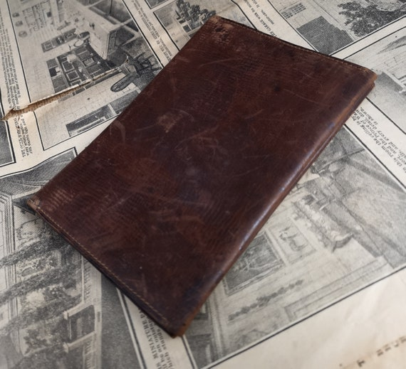Vintage leather wallet, hand tooled, traditional, rustic 1930's gents wallet, distressed