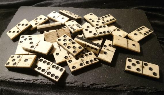 Antique bone dominoes, large dominoes, bone and ebony, full set 28