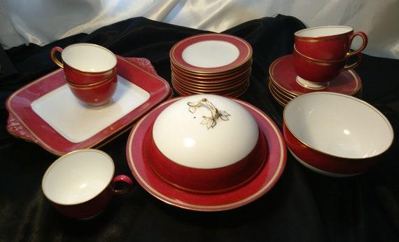 Rare antique tea set, Wedgwood, part tea service, claret ground and gilt, fine bone China, teaware, dining, 26 pcs