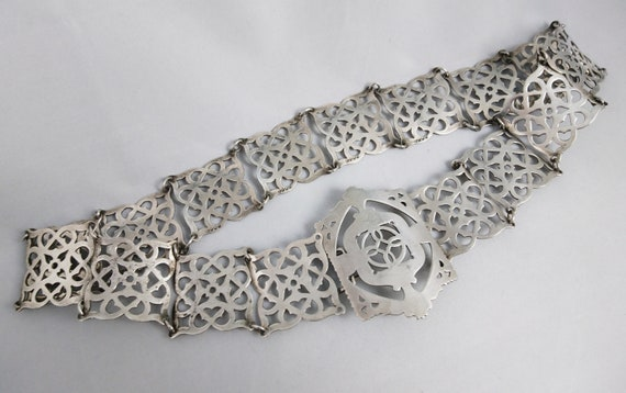 Antique silver plated belt, waist belt, Art Nouveau, Edwardian era belt