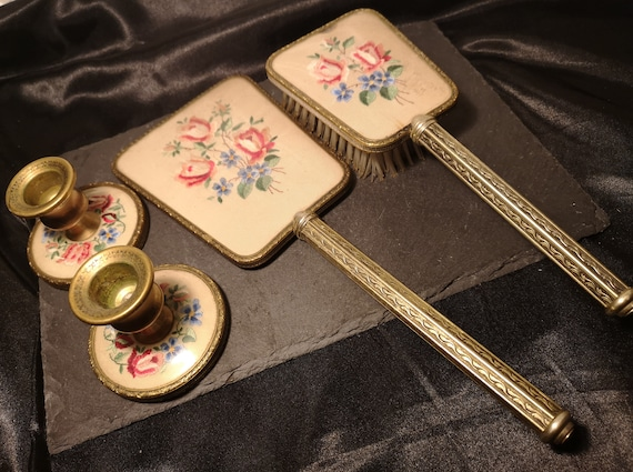 Vintage 30's petit point vanity set, gilt dressing table set, mirror, brush, candlesticks