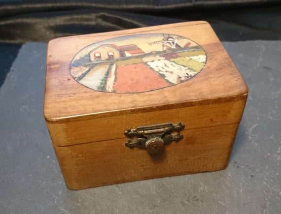 Antique folk art box, satinwood trinket box, Danish, hand painted, rustic wooden box