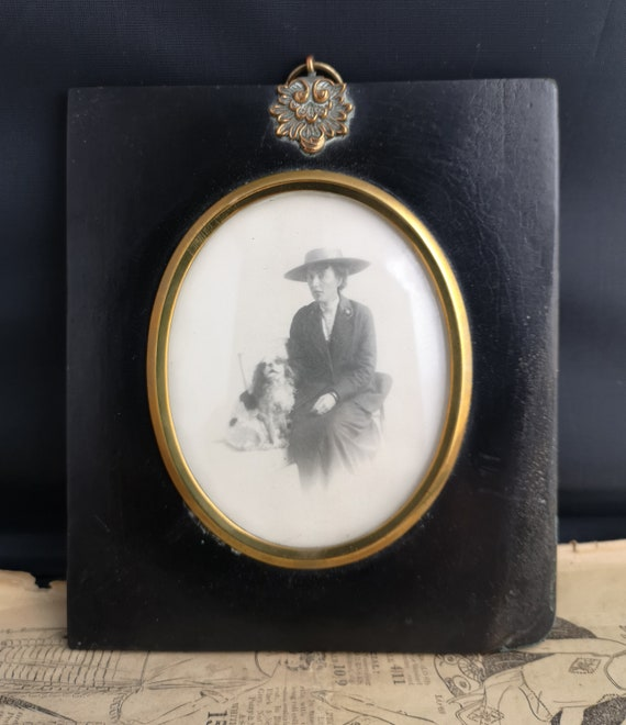Victorian ebony frame, miniature, lady and dog photograph