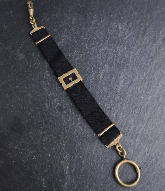 Antique buckle mourning fob, Victorian watch chain
