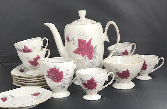 Vintage 40s china coffee set, polish porcelain, full set