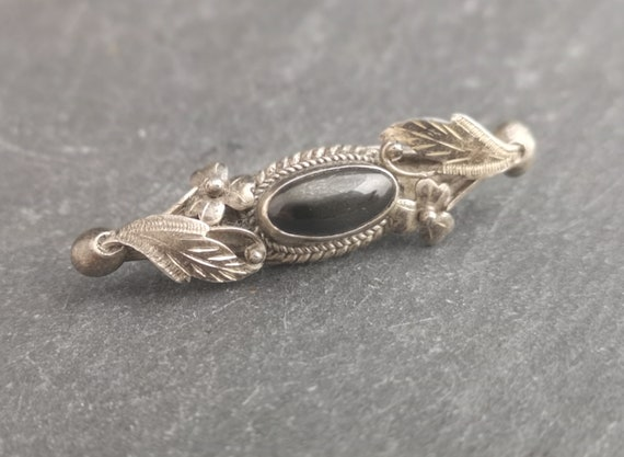 Victorian mourning brooch, antique sterling and black agate pin