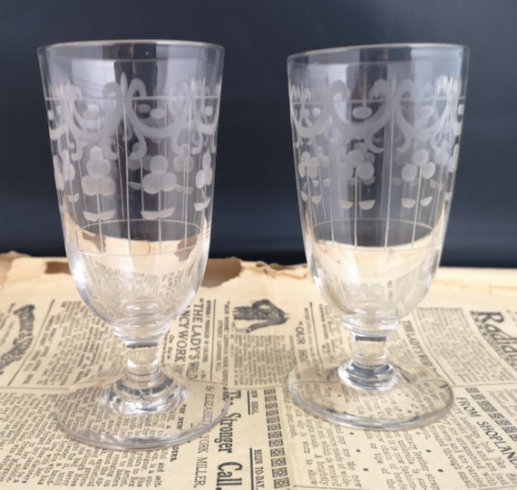 Antique glass tumblers, etched swags decoration, small Victorian drinking glasses
