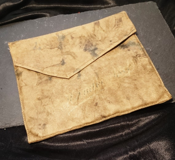 Antique leather handkerchief case, gorgeous marbled leather, super soft, hankie case