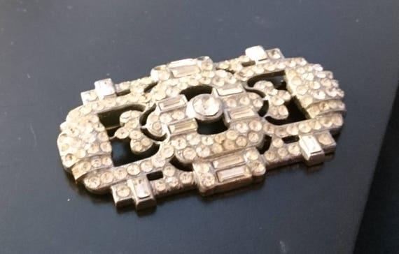 Vintage diamanté brooch, Art deco silver tone, 1920's large vintage brooch