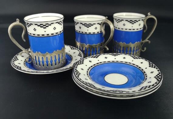 Antique demitasse set, George Jones, Crescent China, coffee set
