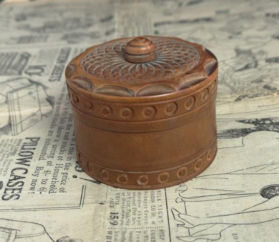 Vintage Indian wood trinket pot, wooden box, keepsake