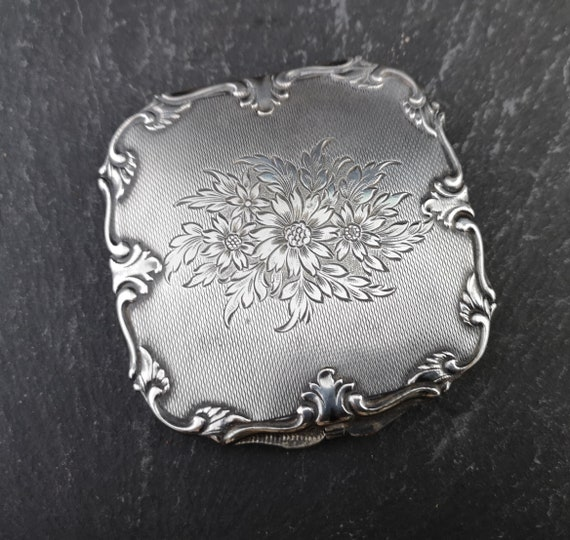 Vintage 50's silver compact, floral, cosmetic compact