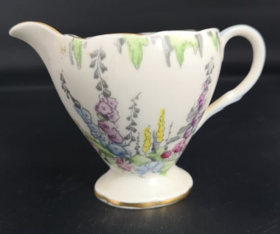 Vintage china cream jug, Foley China, floral ceramic jug