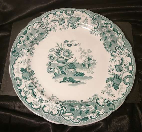 Antique transferware plate, green and white, Copeland Late Spode, Chinoiserie