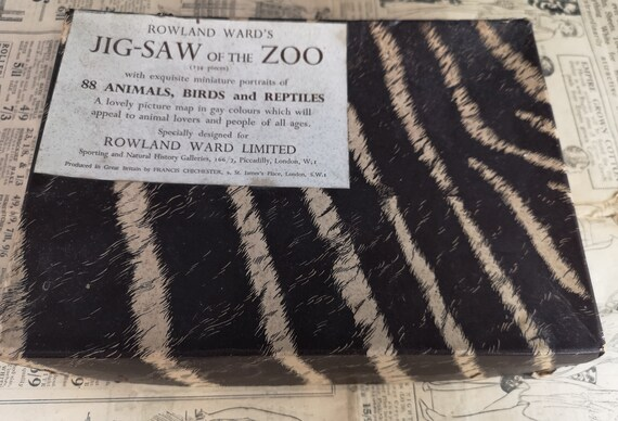 Vintage 30's jigsaw puzzle, Roland Wards jig-saw of the zoo