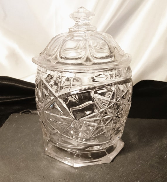 Victorian glass bon bon dish, antique lidded glass jar