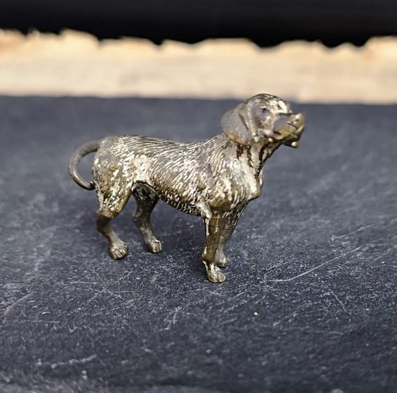 Antique cold painted bronze beagle dog miniature, hound