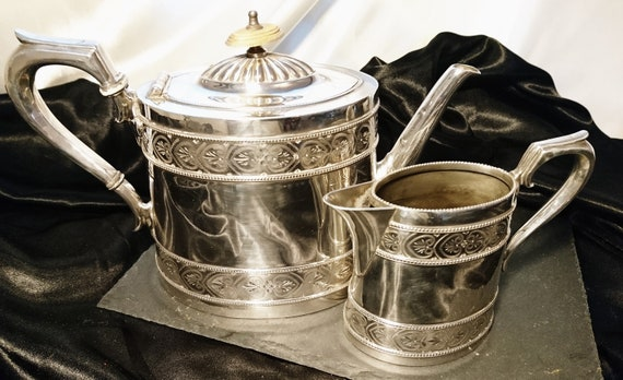 Victorian silver plated teapot and creamer, antique Tea set