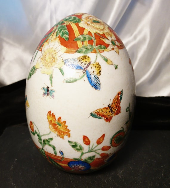 Vintage Chinese enamelled egg, large Terracotta egg, ornamental